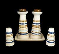 House Beautiful Sandstone Cool Cruet Set Oil Vinegar Tray Salt Pepper MCM Style