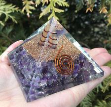 Amethyst Orgone Pyramids ,Crystal Gemstones, Copper Metal Mix Rare 100 mm,Chakra