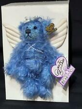 """Annnette Funicello Angel Bear Blue Mohair Vintage 7"""" White Wings Bell New no Box"""