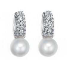 White Gold Plated Clear Sparky CZ Rhinestones Simulated Pearl Earrings Jewelry