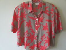 1980s TOP Blouse CROP Ties Taupe CORAL FESTIVAL Vintage Retro SILKY Sz  16 18