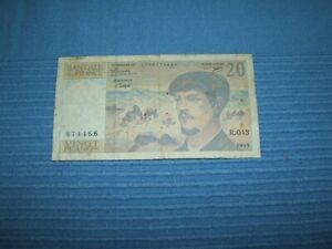 """1993 20 Francs French note / """"CLAUDE DEBUSSY"""" Good Condition"""
