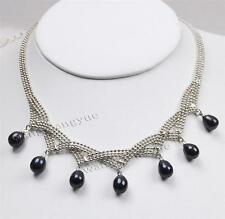 Fashion 7-8mm Natural Black Akoya Pearl Pendant Jewelry Necklace AAA Grade