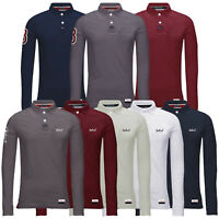Mens Polo T Shirt Long Sleeve Cotton Stallion Pique Casual Collared Top Designer