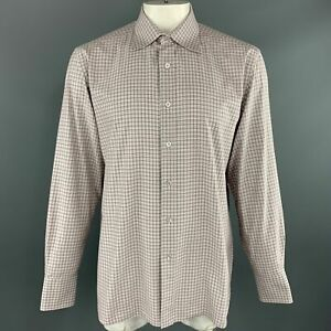 TOM FORD Size XL 44 Brown & White Micro Plaid Cotton Button Up Long Sleeve Shirt