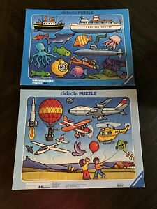 2 Ravensberger Didacta 44 Piece Puzzles. W Germany 1977 & 1978. Fly & Swim.