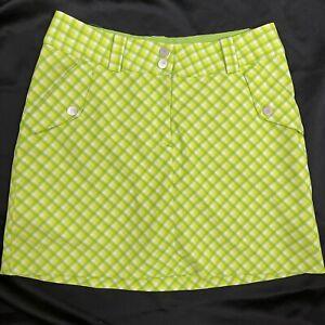 EUC Womens 2 Nike Golf Dri-Fit Plaid Skort Skirt Tennis lime green with shorts