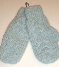 Ladies Women's Fownes Cable Stich Mittens,O/S, Sky Blue