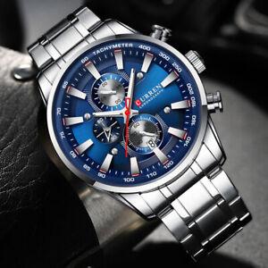 CURREN Mens Watch Stainless Steel Band Quartz Wrist Watches Chronograph Calendar