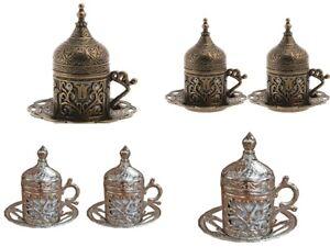 Ottoman Turkish Moroccan Bronze SIlver Brass Tea Coffee Saucer Cup - UK STOCK