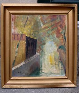 Ove Koser (1918) Scenery from Christianshavn Canal, Copenhagen. Dated 1952.