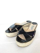 Auth. Jimmy Choo London Paisley Black Patent Leather Wedge Espadrilles Shoes, 39
