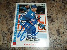 1993-94 SCORE CANADIAN # 149 ADAM FOOTE AUTOGRAPHED CARD