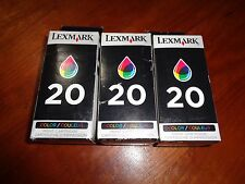 Lot of 3 Color Genuine Lexmark 20 Ink Cartridges OEM In Sealed Retail Boxes