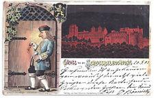 AK Heidelberg Litho Gruss von Schlossbeleuchtung 1903 Color Scherzkarte Wein