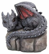 Vivid Arts Baby Dragon On A Stone- Indoor Outdoor Garden Ornament