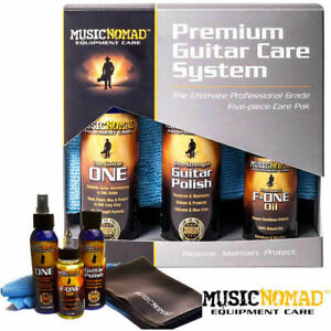 Music Nomad Guitar Care Kit 5 Product Bundle Cleaner Polish Wax Fret Oil Clothes