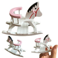 Dollhouse Miniature White Wooden Rocking Horse Chair Nursery Room Furniture 1:12