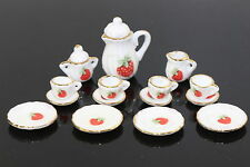 Lot of 15 Flower Porcelain Puppenhaus Miniature Coffee Tea Cup Set  Strawberry