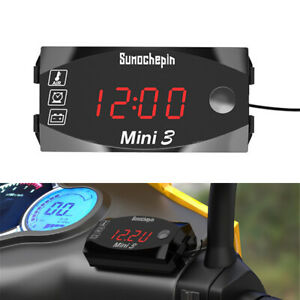 Motorcycle Universal 3 in 1 Digital LED Electronic Voltmeter Voltage Thermometer
