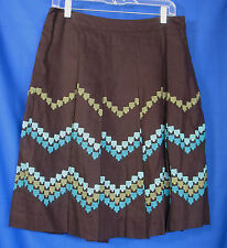 LOFT Ann Taylor Skirt Size 6 Brown Turquoise Aqua Embroidered Box Pleats Linen