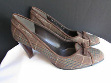 Stuart Weitzman Women Dark Brown Plaids Dressy Bow Pump Mid High Heels Shoes 8.5