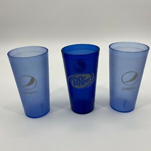 Pepsi Dr Pepper Plastic Tumbles Cups Carlisle Impact Restaurant Blue 24 Oz Set 3