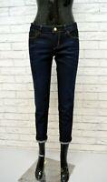 GUESS Jeans Blu Corto alla Caviglia Donna Taglia 42 Pants Woman Pantalone Denim