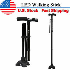 Folding LED Walking Stick Cane HurryCane All-Terrain Pivoting Base 2 Style New