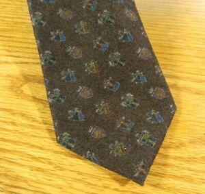 ARTE by Altea Men's Tie 100% Wool Dark brown Multi shields Made Italy  NWOT SP9