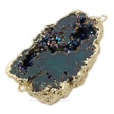 Natural Druzy Quartz Agate Geode Sliced Bracelet Necklace Connector Beads Large