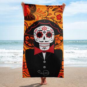 Beach or bathroom towel, Mexican day of the dead skull, Orange towel