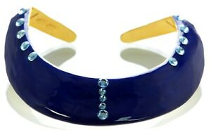 Kenneth J Lane KJL Blue Enamel Crystal Collar Necklace