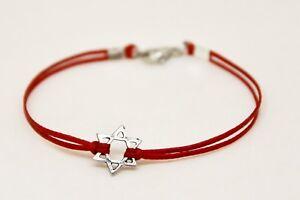 Silver Star of David men's bracelet, red cord
