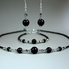 Black pearl crystal collar necklace bracelet earrings silver wedding jewelry set