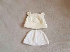 Set of 2 White Baby Hats size 6-12 months velour F&F cotton Tiny Ted