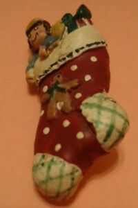 Red Christmas Filled Stocking Broach Pin