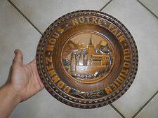 Ancienne Assiette Bois Donnez nous notre pain quotidien Lourdes Souvenir