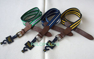 New $65 Polo Ralph Lauren Pony Canvas Leather Roller Belt