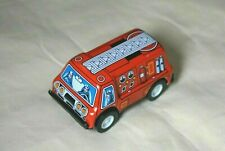 """New Sanko Vintage Tin Toy Friction 3"""" Red Fire Engine Truck Car Made in Japan"""