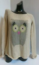 TOPSHOP BEIGE OWL MOHAIR WOOL KNITTED SLOUCH LONG SLEEVED KNIT JUMPER TOP 6 34 R