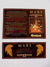 """'MARTE DIO DELLA GUERRA """"Gottlieb 1981 Custom istruzioni/Grembiule CARDS (NUOVO)"""