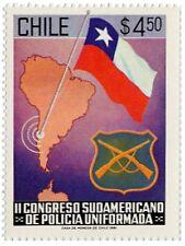 Chile 1981 #1014 Congreso sudamericano de Policia Uniformada Map Flag MNH