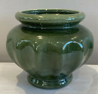 """Vintage Haeger Forest Green Ribbed Planter Pottery Flower Pot Made USA 5.5"""" T"""