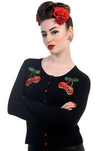 BANNED Apparel Black Rockabilly Emo Gothic Punk Cherry Skull Women's Cardigan