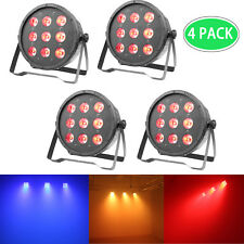 4 x LED DJ Par Can Uplighting RGBW DMX Color Mixing Stage Light Wash Effect