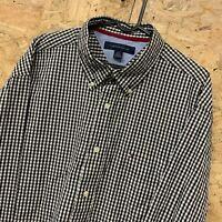 Tommy Hilfiger Men's Long Sleeve Vintage Shirt Black / White Check Size Large L