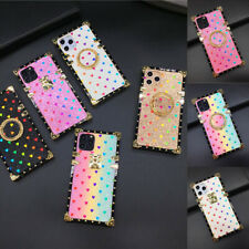 For Samsung A21 A11 A12 A51 A71 M20 Bling Glitter Heart Cover Square Case w/Ring