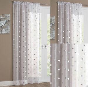 Love Heart Metallic Silver Print Modern Voile Net Curtain Slot Top Single Panel