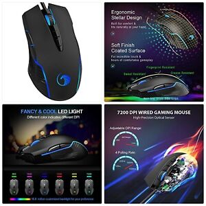NPET M70 Wired Gaming Mouse, 7200 DPI, 7 Programmable Buttons, LED Backlit, Ergo